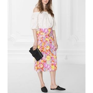 & Other Stories Pink Floral Midi Skirt Sz 6